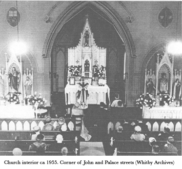 Church interior ca. 1955. Corner of John and Place Streets
